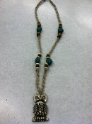 owl hemp beaded bone necklace