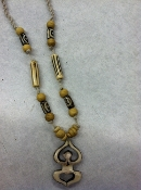 Yoga love hemp bone necklace