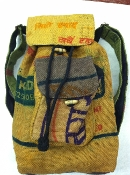 Small recycled rice sack backpack