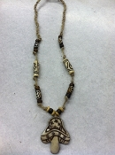 Hemp and bone mushroom necklace