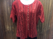 Red Short Sleeve Blouse with Buttons and Embroidery