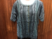Teal Short Sleeve Blouse with Embroidery and Buttons
