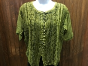 Green Short Sleeve Blouse with Buttons and Embroidery