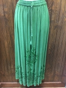 Green Stonewashed Long Skirt