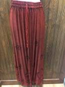 Red Stonewashed Long Skirt