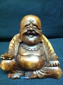 Wooden Happy Buddha Statue