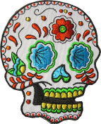 Sugar Skull Patch White with Red Rose